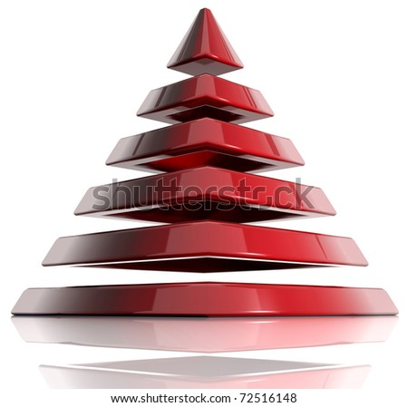 Pyramid created of layered elements. 3d - stock photo