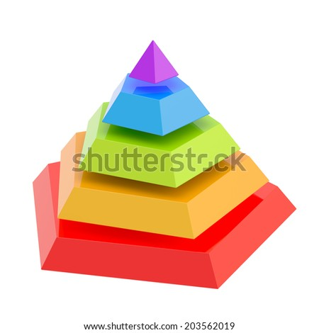 Pyramid divided into five colorful segment layers, isolated over the white background - stock photo