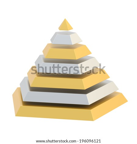 Pyramid divided into seven silver and golden layers, isolated over the white background - stock photo