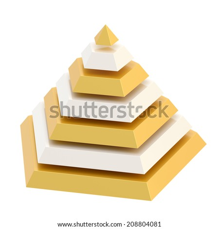 Pyramid divided into seven, white and golden segment layers, isolated over the white background - stock photo