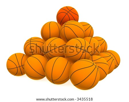 Pyramid from basketball balls - isolated on white - stock photo