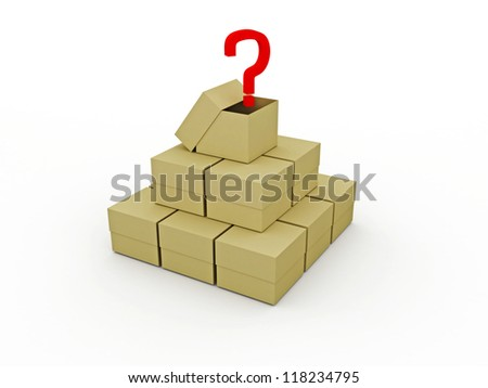 Pyramid from boxes on a white background - stock photo