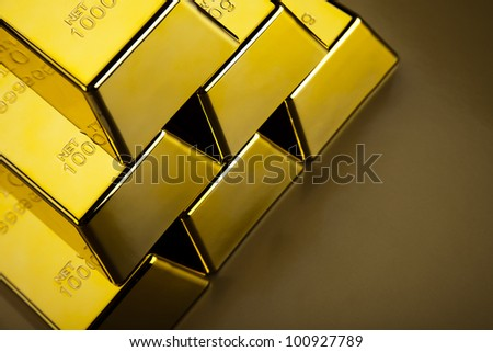 Pyramid from Golden Bars - stock photo