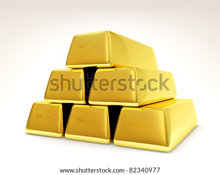 Pyramid from Golden Bars on white background (Hight Resolution 3D Image) - stock photo