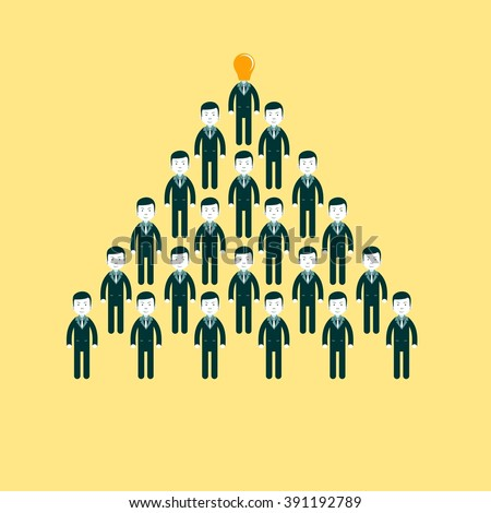 Pyramid from people working in the commando, CEO manages people. Stock illustration - stock photo