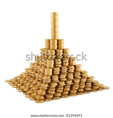 pyramid from the golden coins. isolated on white. - stock photo