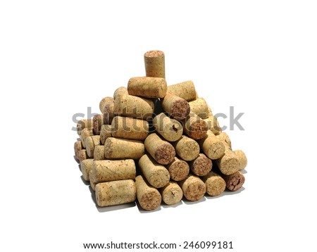pyramid from wine corks on a white background, isolated   - stock photo