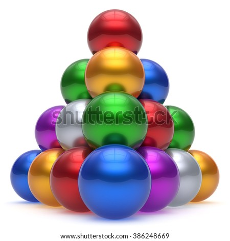 Pyramid hierarchy corporation sphere ball red top order leadership element teamwork stable group business concept multicolor different colors colorful shiny sparkling icon. 3d render isolated - stock photo