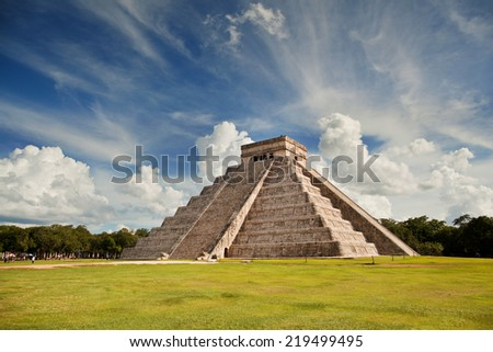 Pyramid in Mexico in Chichen Itza - stock photo