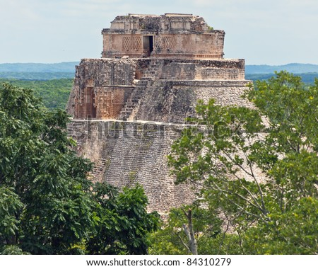 Pyramid in the forest at Uxmal - Yucatan, Mexico