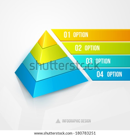 pyramid infographic design template illustration isolated on white - stock photo