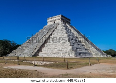 Pyramid Kukulkan in the Mayan archeological site Chichen Itza, Mexico - stock photo