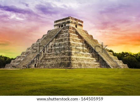 Pyramid Kukulkan temple. Chichen Itza. Mexico. Maya civilization - stock photo