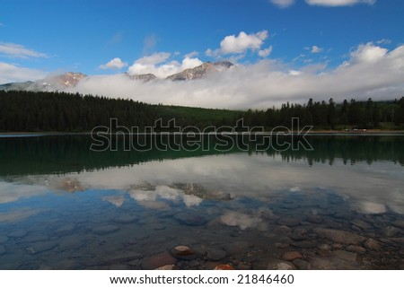 Pyramid Lake and Mountain - stock photo