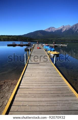 Pyramid Lake in Jasper National Park - stock photo