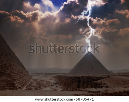 Pyramid Lightning. Power Energy Light. - stock photo