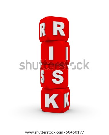pyramid made from cubes with word risk - stock photo