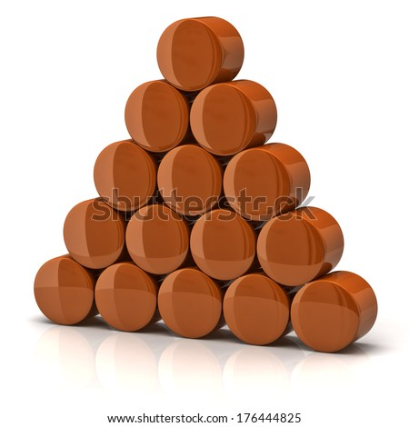 Pyramid made from orange cylinders - stock photo