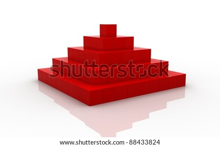 Pyramid made of small cubes - stock photo