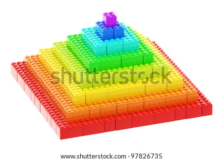 Pyramid made of toy construction brick blocks isolated on white - stock photo