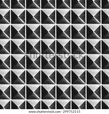 pyramid metal studs pattern and background, with clipping path design elements for letters and numbers - stock photo