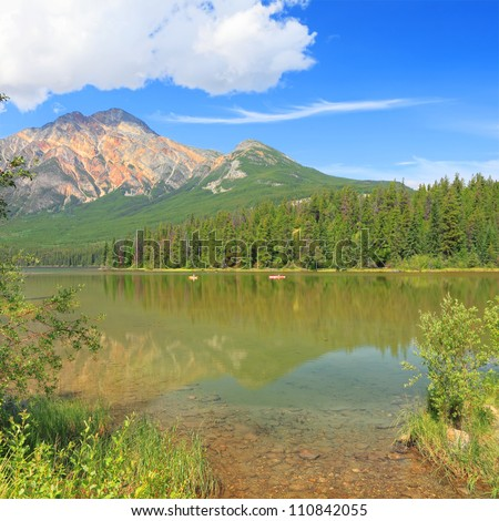 Pyramid mountain and lake in Jasper National Park, Rocky Mountains. Alberta, Canada