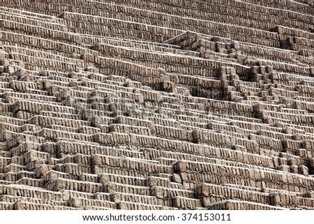 pyramid of adobe on a sunny day - stock photo