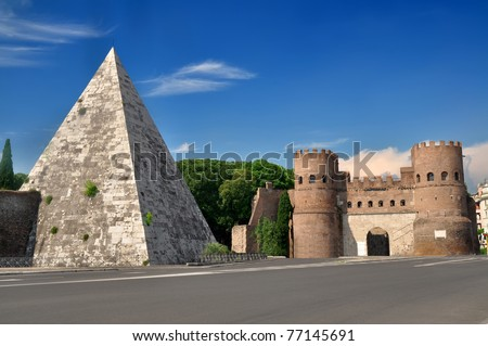 Pyramid of Cestius near the Porta San Paolo, Rome, Italy