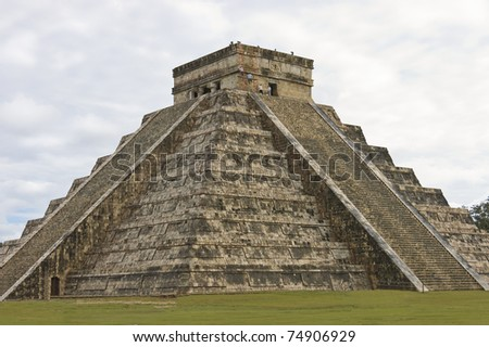 Pyramid of Chichen Itza, Mexico,  seven wonders of the world,  The four sides of 91 stairs are the origin of Mayan Calendar. one step for each day of the year - stock photo