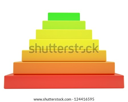 Pyramid of colored cubes. Isolated render on a white background - stock photo
