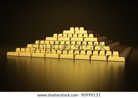 Pyramid of gold bars - stock photo