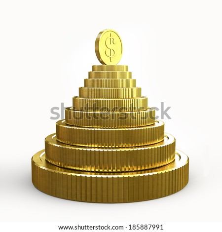 Pyramid of golden coins isolated on a white background 3D - stock photo