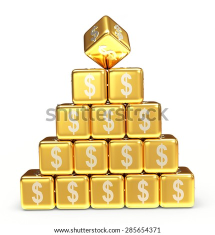 Pyramid of golden cubes with dollar sign isolated on white background