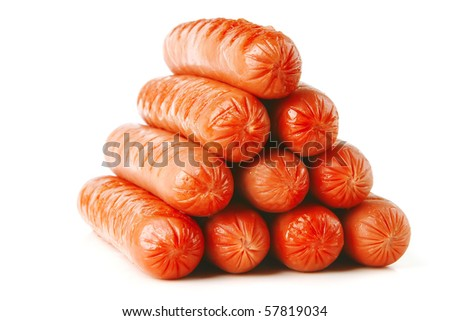 pyramid of grilled beef sausages over white background - stock photo