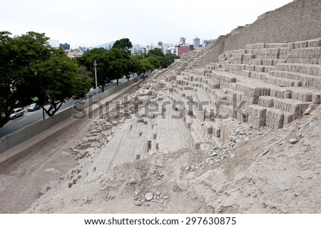 Pyramid of Huaca Pucllana on a sunny day in Peru. - stock photo