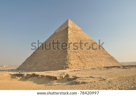 Pyramid of Khafre or  Pyramid of Chefren, Giza, Egypt - stock photo