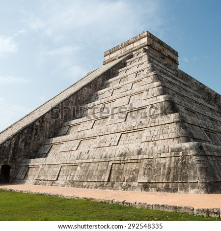 Pyramid of Kukulcan at the Chichen Itza Ruins, in the Yucatan, Mexico - stock photo