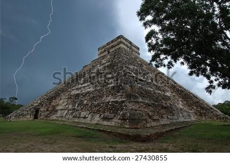 Pyramid of Kukulkan, Chichen Itza, - stock photo