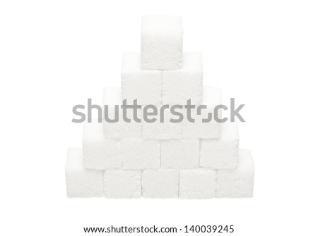 Pyramid of lumpy sugar isolated on white background - stock photo