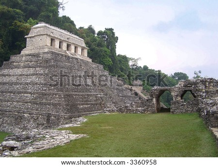 Pyramid of Palenque. Mexico (UNESCO World Heritage site) - stock photo