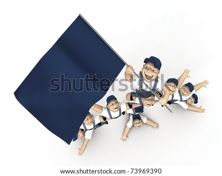 Pyramid of people on a white background - stock photo