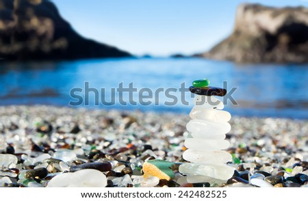 Pyramid of polished sea glass. Glass Beach is a beach in MacKerricher State Park (California, USA). Pacific Coast - stock photo