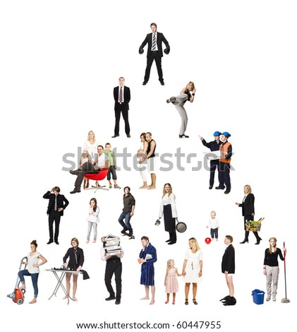 Pyramid of Real People isolated on white Background - stock photo