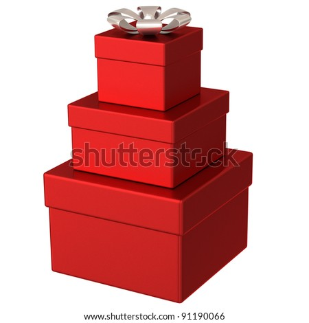 Pyramid of red gift boxes with silver bow 3d - stock photo
