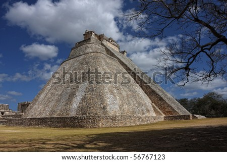 Pyramid of the Magician, Uxmal, Yucatan, Mexico - stock photo