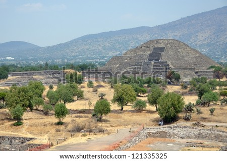 Pyramid of the Moon, Teotihuacan Pyramids, Mexico with mountain at the background