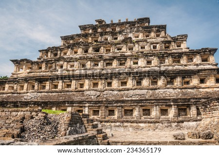 Pyramid of the Niches, archaeological site of El Tajin,, Veracruz (Mexico) - stock photo