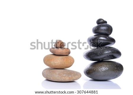 Pyramid of the stones isolated white background. Spa Concept - stock photo