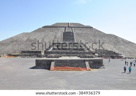 Pyramid of the Sun in Teotihuacan mexico - stock photo