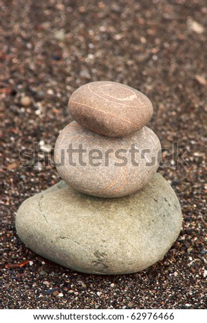 pyramid of three stones - stock photo